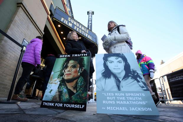 Fans protest outside the showing of Leaving Neverland