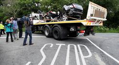 Eight people lost their lives when a black VW Passat with seven young men collided with a car near Buncrana, Co Donegal in July 2010. Photo: Paul Faith/PA