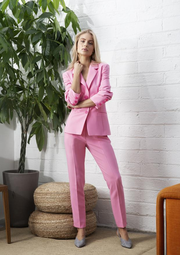 Blazer, €229; trousers (also available in blue), €159, both fee G. Shoes, €16, Penneys,Earrings, €135, Margaret Elizabeth, Loulerie, Arnotts