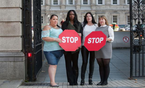 Time to stop: From left, Bridget Perrier,Ne'cole Daniels, Rachel Moran and Fiona Broadfoot from Space International during an event to call for an end to sex trafficking and prostitution. Photo: Gareth Chaney Collins