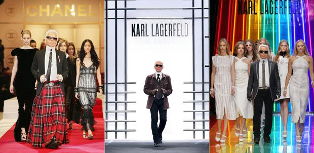 From left: Karl on the runway in Tokyo in 2004, in Paris for the AW09 show, and in the same city in 2009