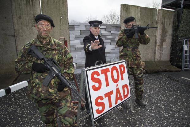 Delays: protesters dressed as soldiers during The Border Communities against Brexit demonstration at Carrickcarnan on the Louth/Armagh border. Photo by Colin O'Riordan. Photo by Colin O'Riordan
