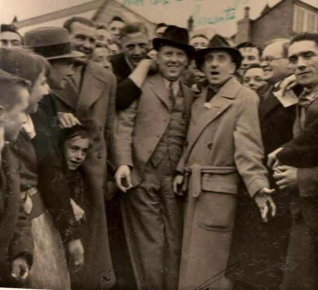 John McGrath (second left) during a 1937 visit to Dublin Zoo by American entertainer Jimmy Durante (third right)