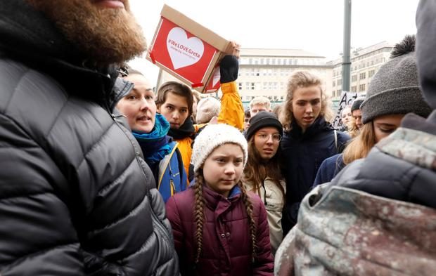 Germany: 16-year-old Swedish environmental activist Greta Thunberg during a protest in Hamburg last week. Photo by Morris Mac Matzen