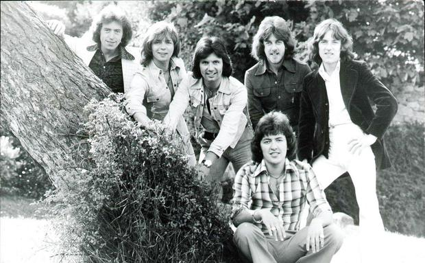 The Miami Showband in 1975: from left, Brian McCoy, Fran O'Toole, Des Lee, Stephen Travers, Tony Geraghty and (sitting in front) Ray Millar