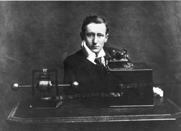 Pioneer: Guglielmo Marconi with one of the earliest radios