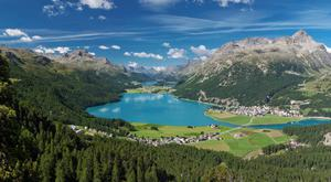 A view of St Moritz from the mountains