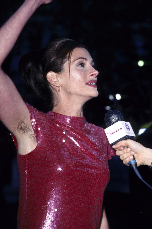 Julia's hairy armpits caused a media firestorm two decades ago. Photo: Fred Duval/FilmMagic