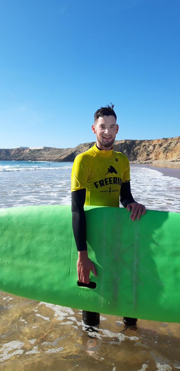 Wayne O'Connor in Sagres, discovering why God invented waves