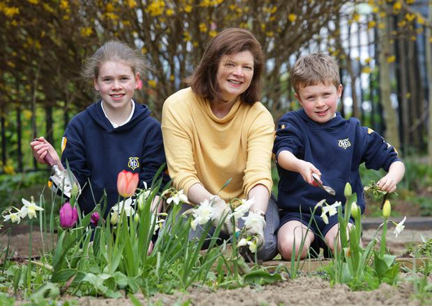 Debbie McHugh, with her children Nyanna (12) and Josh (7), pupils from Kill O' The Grange National School in Deansgrange, working in the school garden. Photo: Damien Eagers / INM