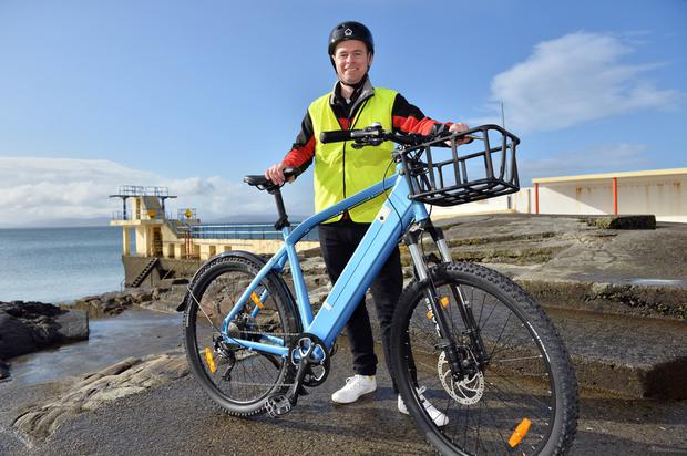 Colin Barry with his BRITE e bike on the Salthill promenode. Photo: Ray Ryan