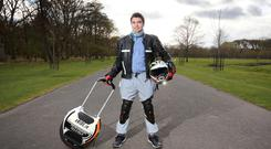 Last laugh: Jean José García Molina from Blanchardstown with his electric unicycle in the Phoenix Park. Photo: Frank Mc Grath