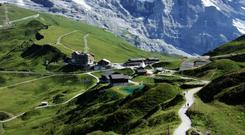 The climb to Kleine Scheidegg over undulating meadows is gentle, the rock and ice scenery of the North Face of the Eiger close and awe-inspiring