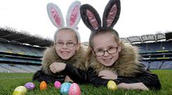 Rhianna and Amber Skerrit get ready for the annual egg hunt at Dublin's Croke Park
