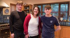 Standing proud: Arlene Harris with sons Tadhg (18) and Rodhan (14) at home in Co Clare. Photo: Eamon Ward