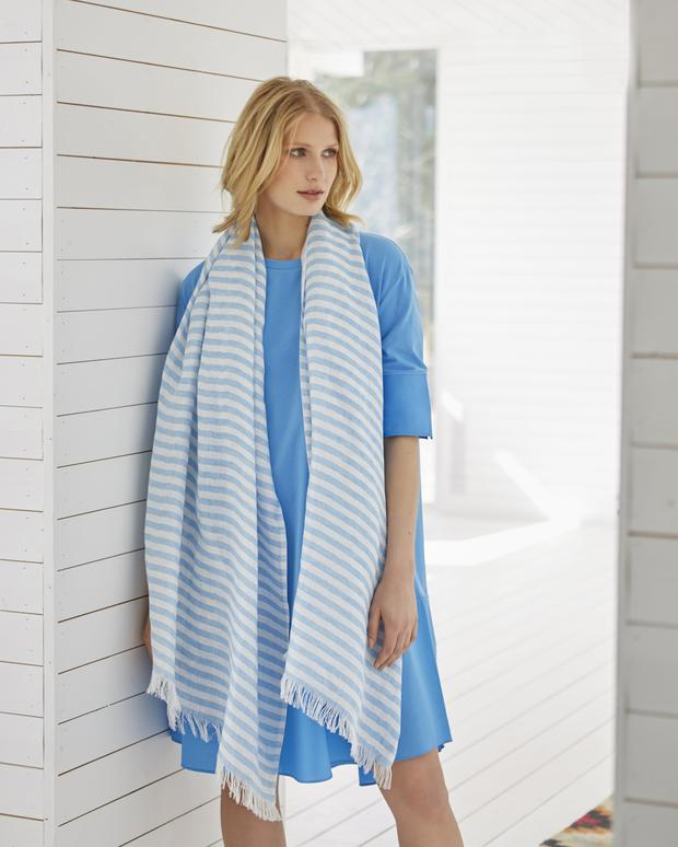 Blue cotton and jersey dress, €59; linen and cotton striped scarf, €49