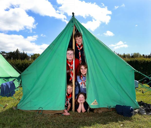 Away days: members of the 73rd Raheny Scouts, (from bottom), Beaver Tamsin Adriaanse (6), Cub Daniel O'Hara (10), and Scouts Olivia Cillen (13), Maeve O'Connor (14) and Ciarán Durnford (14) at Portlick Scout Campsite. Picture by Frank Mc Grath