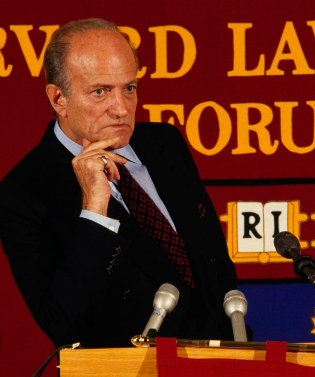 MYSTERY: Claus von Bulow giving a talk at Harvard Law School.