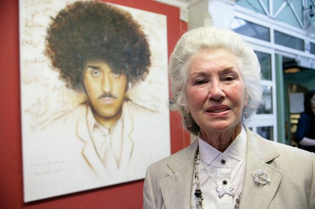 Philomena 10 years ago at the opening of the Phil Lynott 60th birthday tribute. Photo: Arthur Carron/Collins