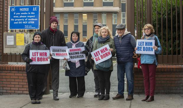Anti-abortion protesters outside Our Lady of Lourdes Hospital in Drogheda. Photo: Ciara Wilkinson
