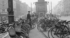 Bicycles on O'Connell Street, Dublin, in 1946
