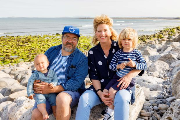 Water baby: Jane and her husband, Myles Kingsley Lamberth, with their two children, Arlo (four) and baby Otis at the beach near their restaurant, Shells, in Strandhill, Co Sligo