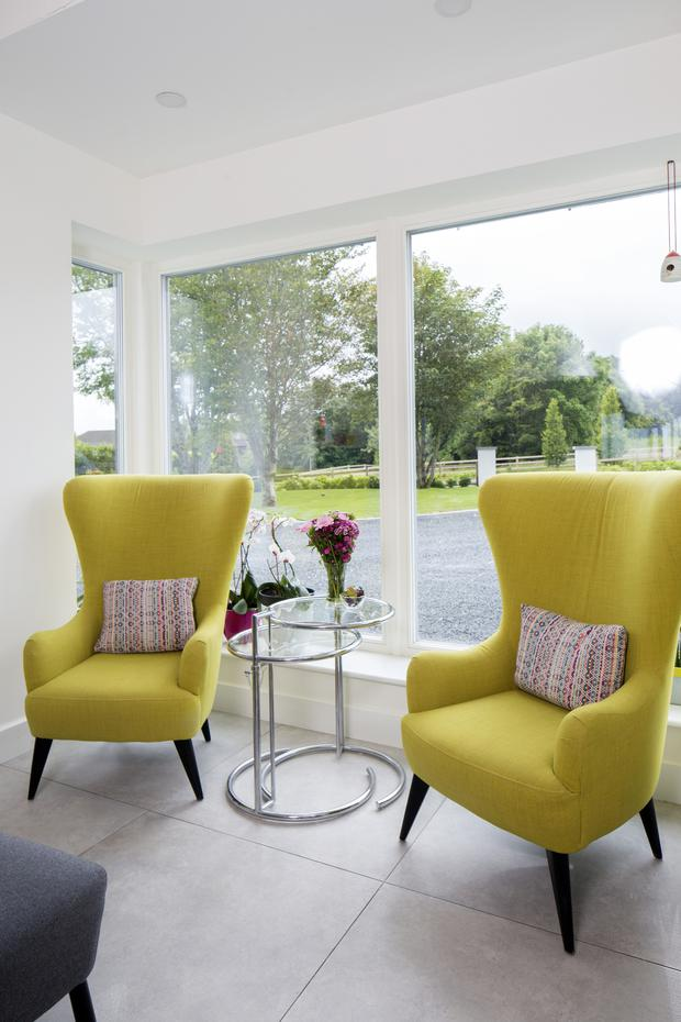 Val saw yellow chairs she loved in a shop in Cork city, but the price was prohibitive. A search online yielded this pair.