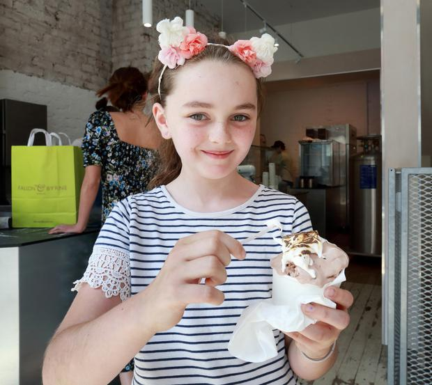 Cream of the crop: Ten-year-old Laura Price from Lucan samples some ice-cream from the Twenty Three Ice-Cream Lab. Photo: Frank McGrath