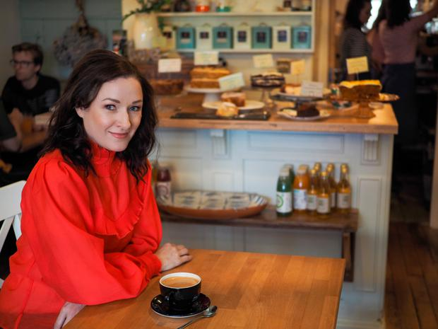 Alex Barclay in The Tea Room in Castletownbere where she spent time writing her latest novel