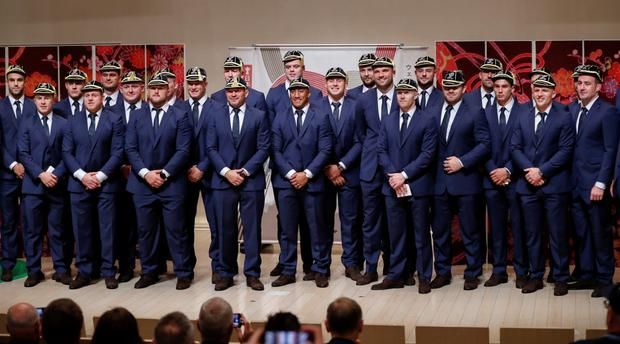 The Irish rugby team at a welcome ceremony in Japan. Photo: REUTERS/Issei Kato