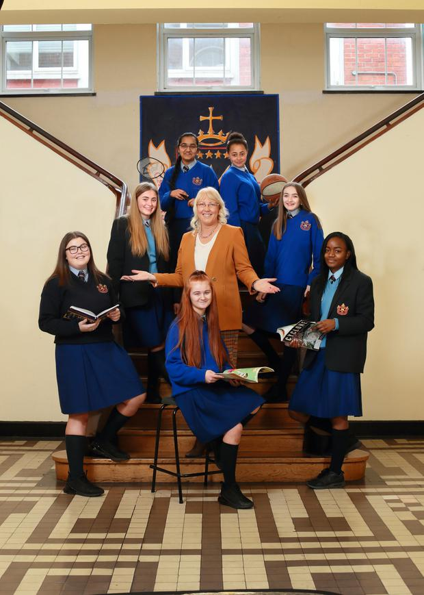 Top of the class: Assumption Secondary School Principal Siobháin Hoey with some of her students. Photo by Frank Mc Grath