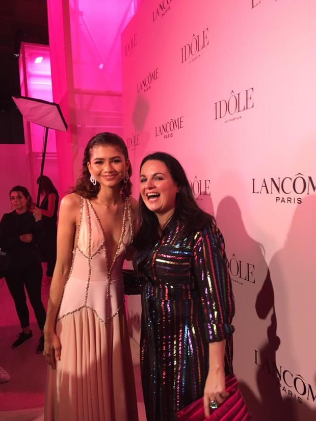 The actress - wearing 26-carat diamond earrings by Chopard - pictured with LIFE's Triona McCarthy at the Idole party in Paris