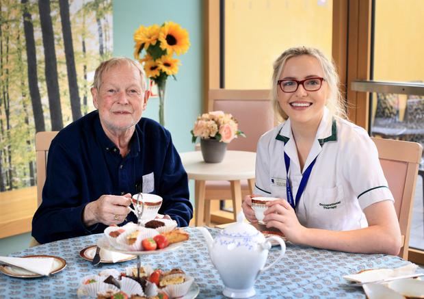 Christy O'Neill from Ballyfermot, pictured with Hospice occupational therapist Jessica Duggan. Photo: Frank McGrath
