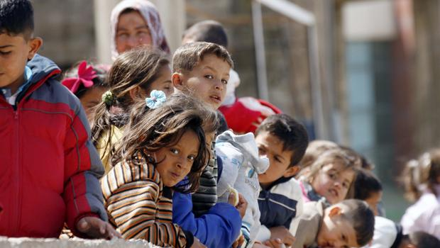 Children at a camp in Lebanon housing Syrian refugees who fled Hama province
