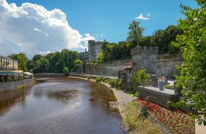 Shine on Kilkenny - a view of the castle and the riverbank, where you can stroll off the delicious limoncello cheesecake served in Rinucci's