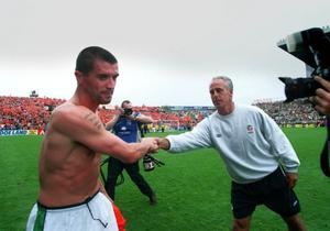 The awkward handshake between Roy Keane and Mick McCarthy after the 2001 win over the Dutch.