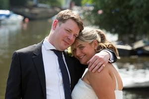 Bryony Gordon on her wedding day with her husband Harry.