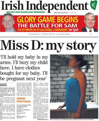Amy shares her story with the Irish Independent in 2007