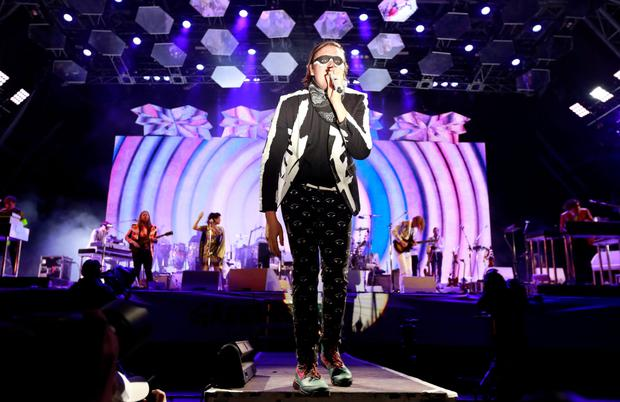 Win Butler of Arcade Fire performs at Glastonbury