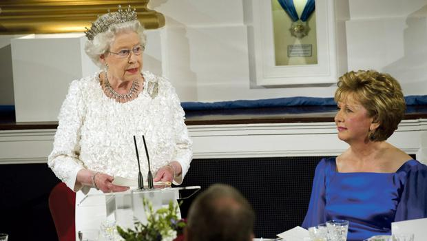 Queen Elizabeth delivering her speech, watched by Mary McAleese during the Stte dinner at Dublin Castle in 2011