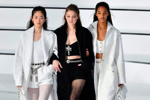 Models including Gigi Hadid (centre) at the Chanel show yesterday in Paris. Photo: Getty Images
