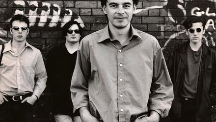 Whipping Boy photographed in the 1990s (left to right) Colm Hassett, Myles McDonnell, Fearghal McKee and Paul Page