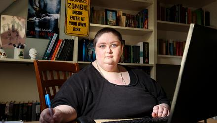 Iseult Murphy, pictured at her writing desk, has loved horror stories since she was a child. Photos: Gerry Mooney