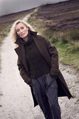 Coat, €3,300, Celine; cable knit jumper, €1,295, Alexander McQueen; Trousers, €595, Stella McCartney, all Brown Thomas