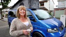 Denise Carr from Raheny with her VW camper van. Photo: Steve Humphreys