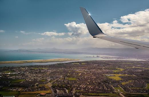 A view of Dublin City and bay just before landing in Ireland