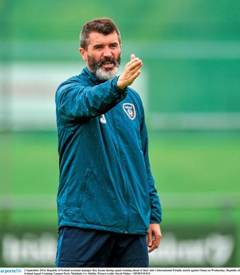 Roy Keane in action as Ireland coach