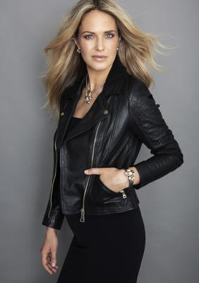 Knight & Day Autumnal Tones Necklace, €30; Bracelet, €30; Earrings, €12; Biker jacket, River Island. Dress, Wolford, Brown Thomas.