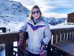 Eilis in Val Thorens at 2300m, where snow is pretty much guaranteed
