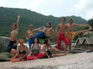Victoria Mary Clarke at a yoga retreat with friends